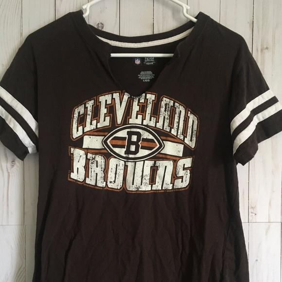 Cleveland Browns Women s Brown T- Shirt Sz L cba697d8d